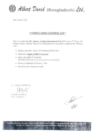 Certificate of albert